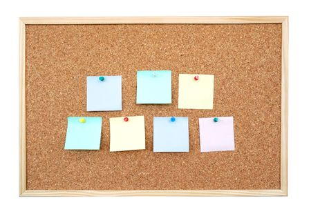 affixed: Seven colorful blank post-it notes affixed to the corkboard - isolated on white