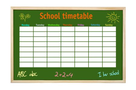 syllabus: Green board in wooden frame with school weekly timetable and kids hand-made drawings