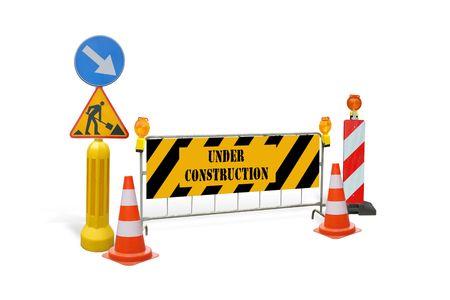 signos de precaucion: Grupo de los signos de alerta de construcci�n de carreteras, barreras, con guardias en construcci�n texto - aislados en blanco