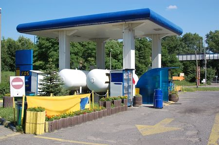 filling: Small LPG filling station with LPG tanks - cheaper gasoline alternative Stock Photo