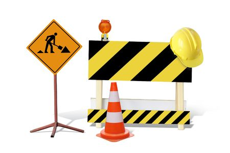 Road construction sign, yellow and black striped barrier with warning light and yellow helmet, marker post isolated on white   Stock Photo