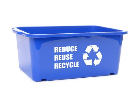 Blue plastic disposal container with reduce, reuse, recycle words and recycle symbol over white background