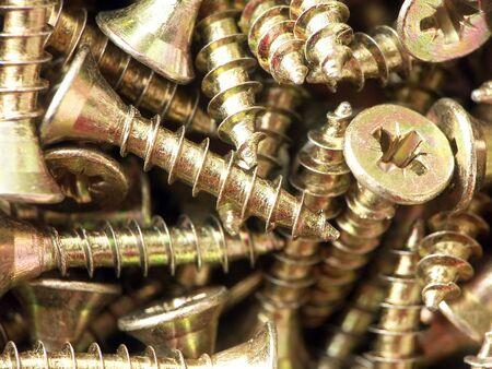screwed: Background of golden metal screws
