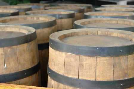 Rows of wooden wine barrels Stock Photo - 1222755