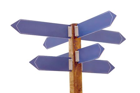 multidirectional: Multidirectional wooden signpost with blank blue direction plates over white Stock Photo