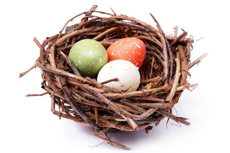 brood: Three speckled eggs in birds nest over white background