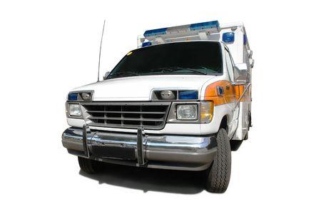 privileged: Ambulance vehicle isolated on white background