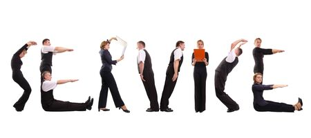 collectives: Young business people forming service word over white
