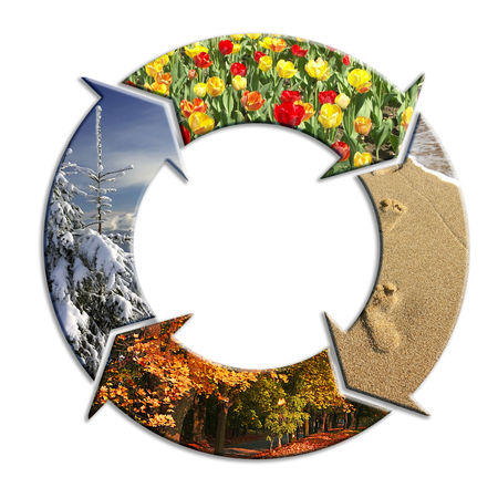 seasonal symbol: Four-arrow circle with superimposed images representing four seasons of the year Stock Photo