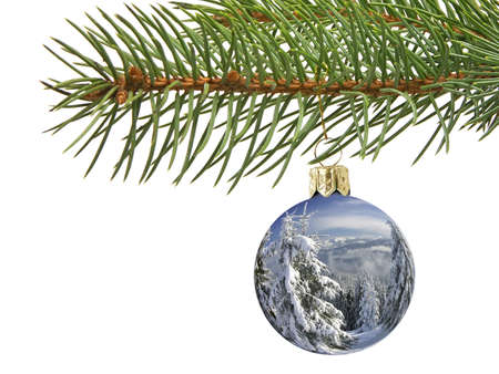 Christmas ball with superimposed winter landscape hanging on spruce branch over white background Stock Photo - 1543944