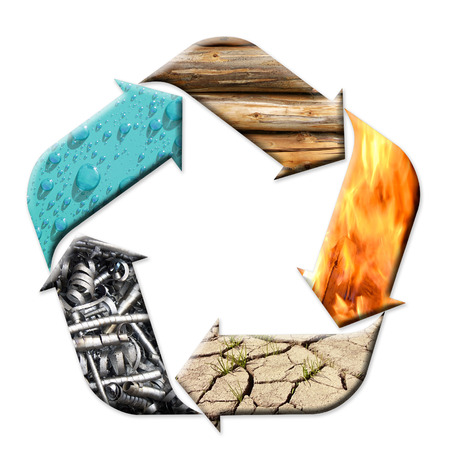fire wood: Five-arrow pentagonal symbol representing five ying-yang elements - water, wood, fire, earth and metal - cycle of creation Stock Photo