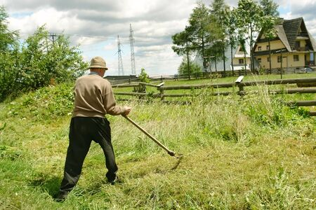 scythe: Old man mowing down grass with scythe Stock Photo