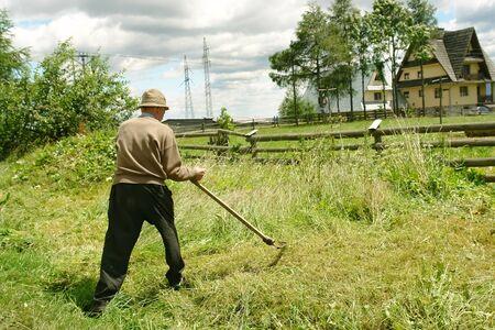 scythe: Viejo de cortar el c�sped hacia abajo con guada�a