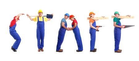 Group of young people wearing different color uniforms and hard hats forming Staff word - isolated on white background Stock Photo - 1631036