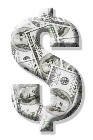 superimposed: US dollar sign superimposed on one hundred dollar bill background over white