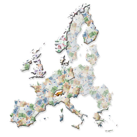 Map of Europe with eurozone countries, and non-eurozone countries superimposed on currency background photo