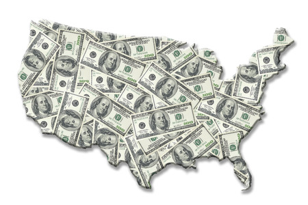 superimposed: Map of United States of America superimposed on one hundred dollar banknote background over white