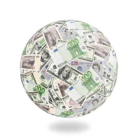 Globe formed of American dollar, euro, pound sterling and yen banknotes over white background photo