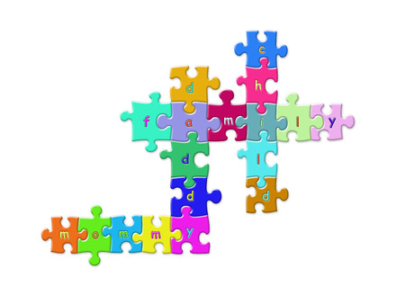 Colorful puzzle pieces put together to form crosswords of mommy, daddy,  and child over white background photo