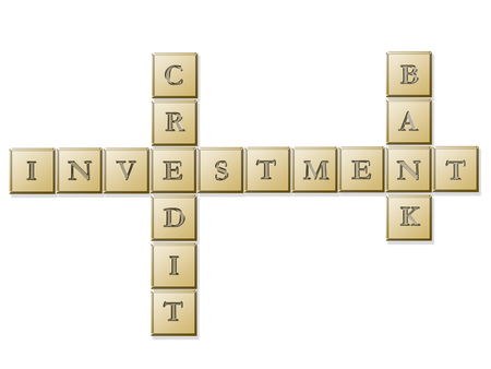 Golden letter pieces spelling investment, credit, bank - over white background Stock Photo