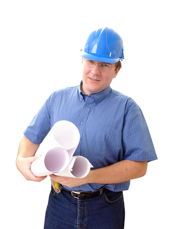Civil engineer wearing blue helmet with rolls of building plans over white photo