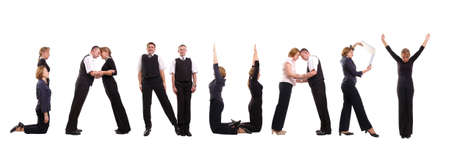 Young business people forming January word over white - business calendar concept photo