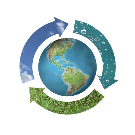 superimpose: Environmental conceptual image of three arrows forming circle around Earth representing three natural elements - air, water and soil over white background Stock Photo
