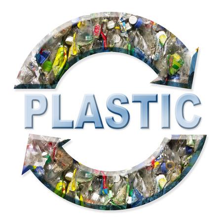recyclage plastique: Deux fl�che symbole de recyclage de plastique sur fond blanc