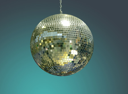 ball and chain: Glistering disco ball over dark green background