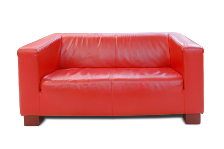 Modern red leather sofa over white background photo