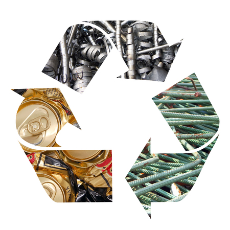 superimposed: Three arrow metal recycling symbol over white background Stock Photo