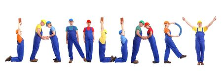 Group of young people wearing different color uniforms and hard hats forming January word - isolated on white background - calendar concept photo