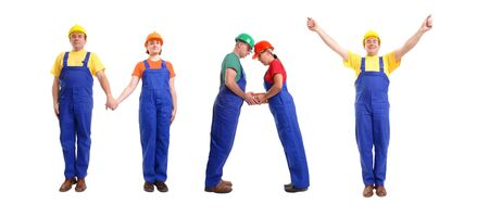 Group of young people wearing different color uniforms and hard hats forming May word - isolated on white background - calendar concept Stock Photo - 1738102