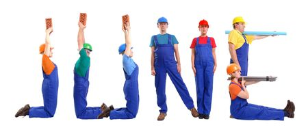 Group of young people wearing different color uniforms and hard hats forming June word - isolated on white background - calendar concept photo