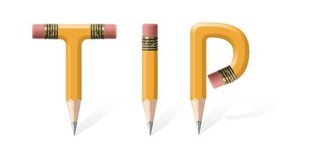 formed: Yellow wooden pencils formed to spell Tip word over white background