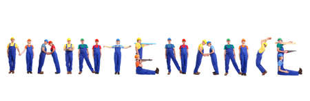 Group of young people wearing different color uniforms and hard hats forming Maintenance word - isolated on white background photo