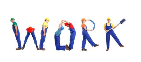 Group of young people wearing different color uniforms and hard hats forming Work word - isolated on white background