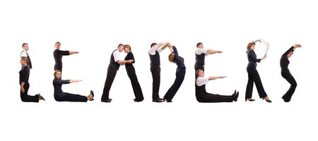 manage: Group of young business people standing over white to form Leaders word