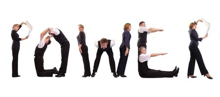Group of young business people standing over white to form Power word Stock Photo - 1827444
