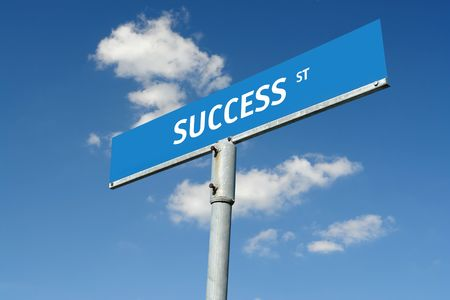 Blue metal Success street roadsign over blue sky Stock Photo