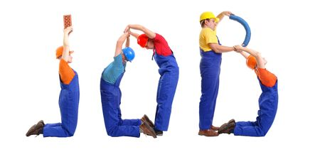 Group of young people wearing different color uniforms and hard hats forming Job word - isolated on white background photo