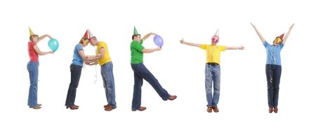 Group of young people wearing party cone hats and masks forming Party word - isolated on white Stock Photo