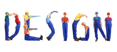 Group of young people wearing different color uniforms and hard hats forming Design word - isolated on white background Stock Photo - 2097167
