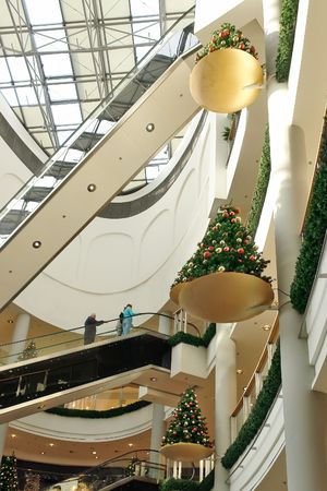 Shopping center interior decorated with christmas trees Stock Photo - 2130918