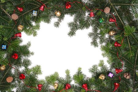 Christmas framework made of fir branches and vaus decorations with white copy space Stock Photo - 2250710