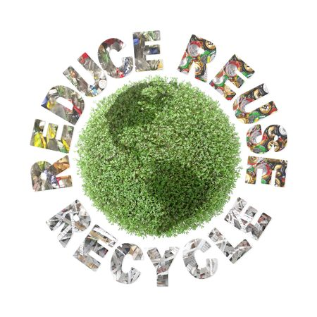 cuttings: Green plant globe and three ecological phrases - reduce-reuse-recycle with superimposed paper cuttings, metal cans and plastic bottles - clean planet concept