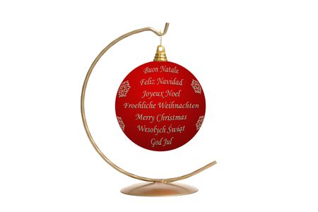 seasonal greetings: Red christmas ball with seasonal greetings in seven languages - English, German, French, Italian, Spanish, Swedish and Polish hanging on metal stand over white background Stock Photo