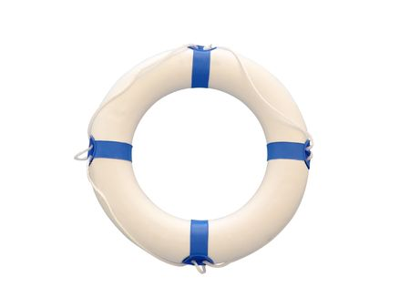 marina life: White lifebuoy isolated on white