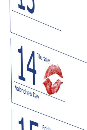 Closeup of calendar page indicating 14 of February - Valentines day with red lipstick print photo