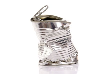 Empty twisted metal can over white background Stock Photo - 2378966